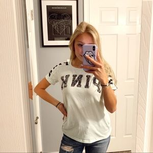 VS PINK t shirt with silver sequins logo